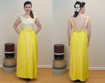 PRICE DROP - 1960s Vintage Evening Dress - Sunshine Yellow Lace and Raw Silk Bodied Evening Gown