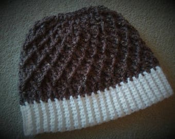 Messy Bun Hat, Crochet Messy Bun Hat, Winter Hat, Cabled Winter Hat, Ponytail Beanie, Women's Winter Hat, Slouchy Hat