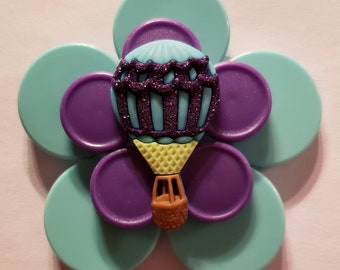 Hot air balloon blue and purple medicine vial flip off cap ID badge holder with retractable reel