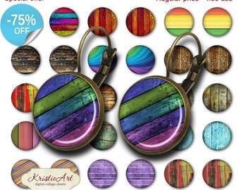 75% OFF SALE Wood Texture - 18mm, 16mm, 14mm, 12mm, 10mm Circles Digital Collage Sheets E-013 Printable Earring, Rings, Jewelry