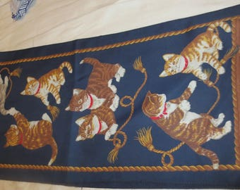 vintage scarf the kitty lover scarf main color blue