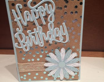Burlap and dots birthday card
