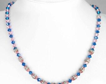 Unusual Art Deco Style Swarovski Crystal Vintage Necklace on Chain