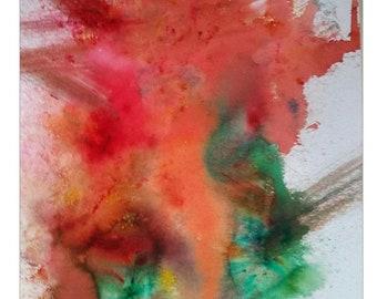 Original Watercolor print Abstract Eruption Vivid Colors Wall art,Home Office Decor
