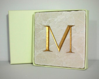 Hand Carved Gold 'M' Letter in Stone Wall Tile.  Letter Carving.  Wall Hanging.  Decorative Arts