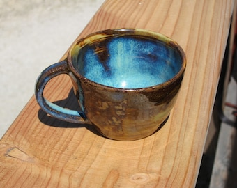 Brown and blue stoneware mugs hand made pottery coffee cup