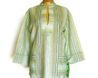 1970s Boho Style Tunic Blouse with Patch Pockets / Green and Blue Stripe Tunic / Hippie Chic Top / Festival Wear / Cotton Top / NOS w/ Tags
