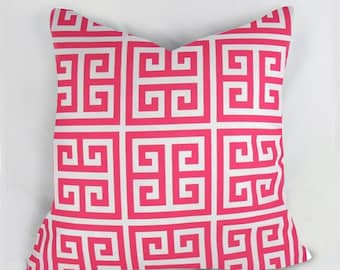 Pink Grekkey  - pink  white - Outdoor Pillow Cushion Cover - Accent Pillow - Throw Pillow - Indoor Outdoor
