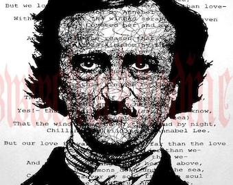 "Print 8x10"" - Edgar Allan Poe - Annabel Lee Raven Nevermore Poem Poetry Gothic Haunted Bird Crow Victorian Haunted Antique Books"