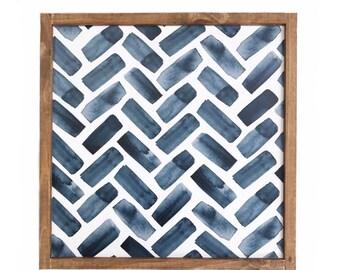 Blue herringbone print - farmhouse sign - wood sign
