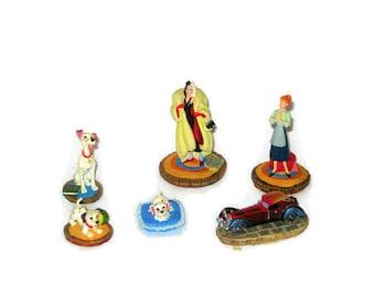 Vintage Disney 101 Dalmations Tiny Kingdom Figurine Cruella DeVil Car Pongo Lucky Penny Anita Figure  Miniature Dog Movie