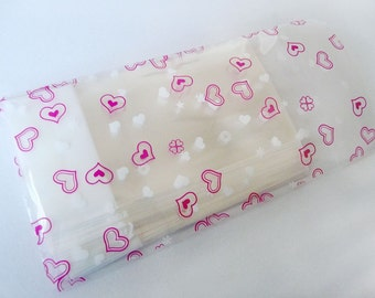 100pcs Hearts Print Crystal Clear Resealable Cello Poly Bag Envelope 2 3/8 inch X 3 1/4 inch and1 5/8 inch (flap)(60mmX80mm and 40mm)