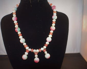 Rainbow jade freshwater Pearl and Watermelon Tourmaline Dangle Necklace