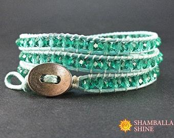 Crystal wrap bracelet Blue beaded jewelry Sky blue bracelet Light summer bracelet Girlfriend gift idea Triple women bracelet Beaded bracelet