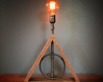 Deathly Hallows Lamp | Harry Potter | Industrial lighting | Steampunk | Hufflepuff | desk lamp | Harry potter gift | Dumbledore