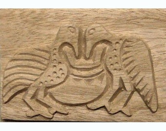 Birds Eating From Pot, African Printing Block Textile Stamp - Oshiwa Carved Wood Printing Stamp, 5.25''x 3.5'', Item 21-9-65