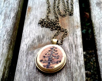 Evergreen Tree Live edge pendant, woodburned, pyrography art necklace, brass bezel and chain,with gold leaf accent, nature lover gift