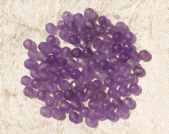 20pc - beads - faceted balls 4mm purple Jade - stone 4558550017512