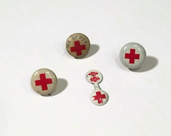 Vintage Red Cross Pinbacks, Set of Four Original Vintage Red Cross Buttons and Collar Tabs