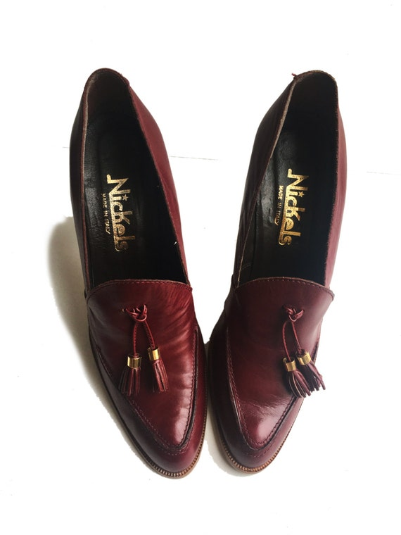Made Italy 7N Nickels Stack 1970s Heeled in Tassel Loafers qRW4nPv