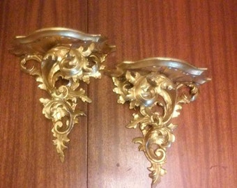 """Pair of Large Florentine Gold Gilt Rococo Hand Carved Wood Wall Shelves – Made in Italy - Measures 11""""H X 10 1/2""""W"""