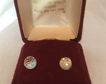 Vintage Swarovski Crystals Ball Pierced Earrings in Original case