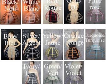 Crinoline hoop skirt cage pannier 4 rows elastic waist for costume