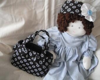 Little Girls Tote - Tote bag - Black - Daisies Print - Girls Purse - Girls Accessories - Handmade Gifts