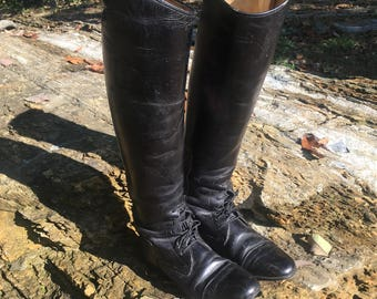 Vintage DerDau Custom Riding Boots Tall Black Leather Equestrian Boots Ladies Size 7 Horse Riding Boots Vintage Ladies Boots