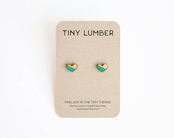 Teal Green Earrings | Wood Heart Earrings | Wood Earring Stud | Rustic Wedding Earrings | Hypoallergenic Earring Stud