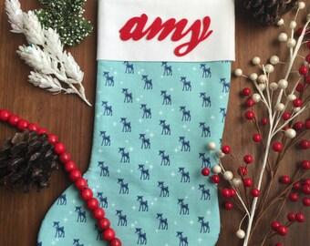 "Personalized Christmas Stocking - ""Reindeer Blue""; Christmas Gift; Christmas Decor; Christmas; Stocking; Christmas Stocking"