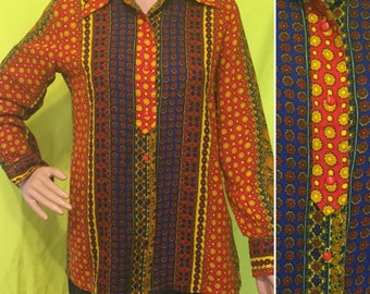 1970s Psychedelic Flannel Blouse, S