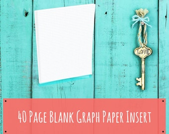 60 Page Printable Blank Graph Paper - Journal Insert - Instant Download -  Standard Booklet Size - Planner Insert - Travelers Notebook