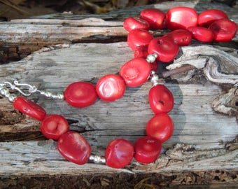 Red Coral and Sterling Silver Handmade Artisan Necklace