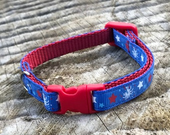 4th of July Fireworks and Stars Cat and Kitten Break away Adjustable Collar