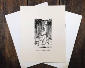 """Eight of Swords - 8x10"""" tarot print"""