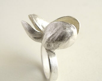 Double Pistachio Ring Sterling Silver Ring Cast From Natural Pistachio Smile Ring