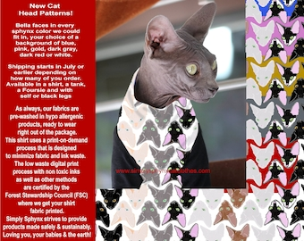 Cat Clothes Bella Sphynx Cat Heads. Sustainable Process. Soft jersey fabric with choice of style and sleeves, Supermodel Bella