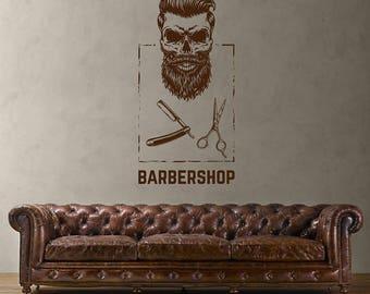 Barbershop wall decal sign logo mural Barbershop Logo Sticker Barber Shop Window Decal Barber's Logo Mural Hair Salon Wall Decals kik3239