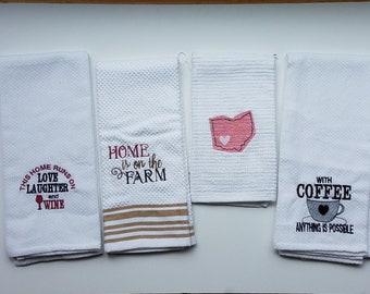 Kitchen Towels - Hand Towel- Tea Towel - Embroidered Tea Towel - Embroidered Kitchen Towel - Coffee Towel - Wine Towel - Ohio Towel