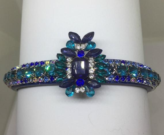 Cutie Pie Pet Collars TM ~Sapphire & Aqua Blue Royalty~ UPSCALE Crystal Diamante Rhinestone Pet Dog Cat Collar USA