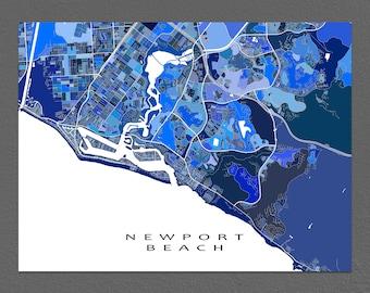 Newport Beach Map Art Print, Newport Beach CA, California City Maps