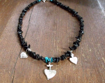 Women's black obsidian & sacred heart milagro necklace