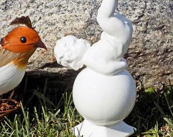 Vintage German Cherub on Ball Figurine White Porcelain Blanc du Chine #675 Germany Signed