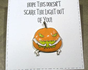 Jack o lantern Enamel Halloween Pin with handmade Punny card and envelope - Lapel Pin - Hard Enamel Pin - Trending - Backpack Pin - Horror