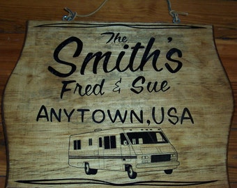 Personalized RV Sign, Wood Plaque, Custom Made