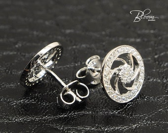 14k White Gold Stud Earrings Cubic Zirconia Gold Studs Bridal Stud Earrings White Gold Bridal Earrings Solid Gold Earrings Wedding Jewelry