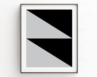 Geometric Poster Art | Decor Above Bed | Grey Black Decor