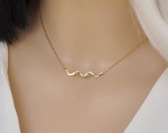 Wave Necklace - Beach Necklace Gold Wave Necklace - Tiny Ocean Wave Necklace - Gold Necklace - Necklace - Wave Pendant