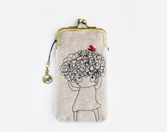 iPhone Case fabric iPhone sleeve gadget case/Glasses Case-Free Motion Embroidery Girl (iPhone X, iPhone 8 / 8 Plus, Samsung Galaxy S8 etc.)